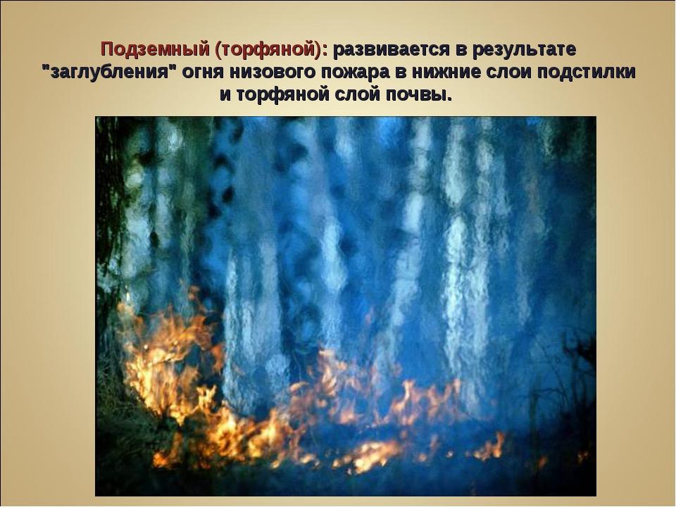 """Подземный (торфяной): развивается в результате """"заглубления"""" огня низового по..."""