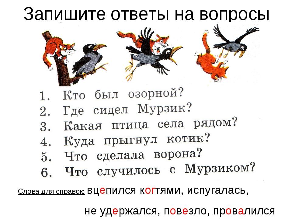 Запишите ответы на вопросы Слова для справок: вцепился когтями, испугалась, н...