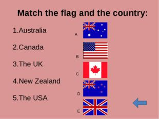 Match the flag and the country: Australia Canada The UK New Zealand The USA A