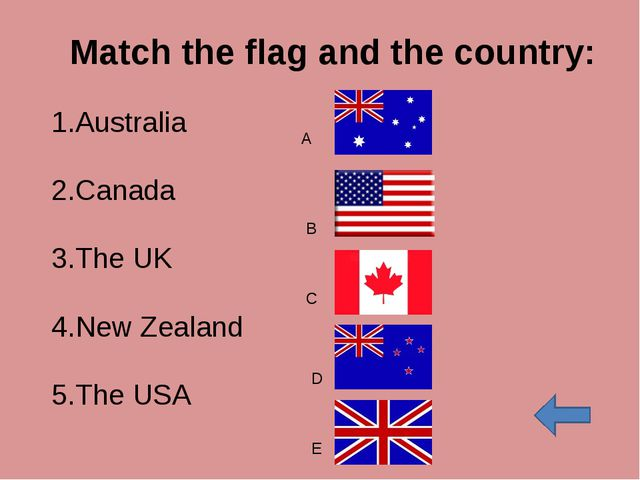 Match the flag and the country: Australia Canada The UK New Zealand The USA A...