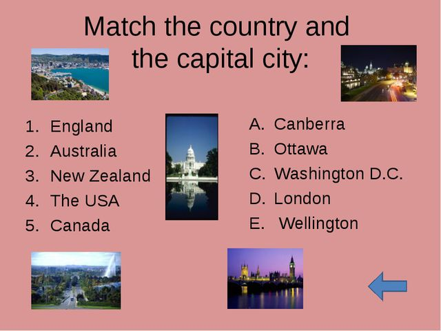 Match the country and the capital city: England Australia New Zealand The USA...