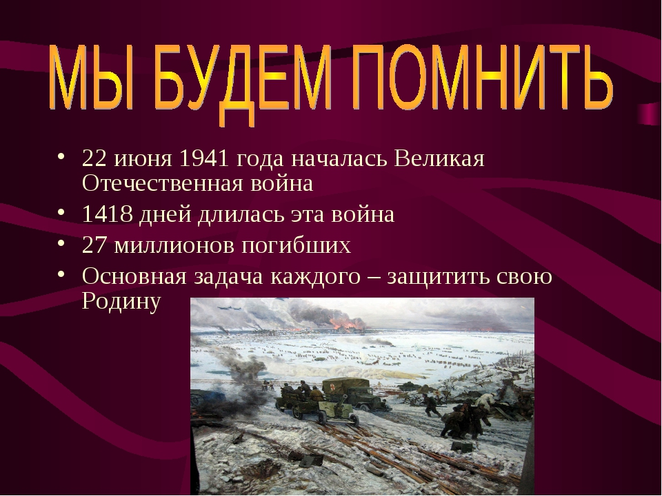 22 июня 1941 года началась Великая Отечественная война 1418 дней длилась эта...