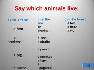 Say which animals live: a) on a farm a hen a cockerel a pig a horse a sheep a