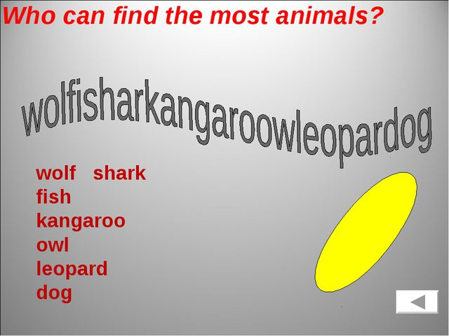 Who can find the most animals? wolf shark fish kangaroo owl leopard dog
