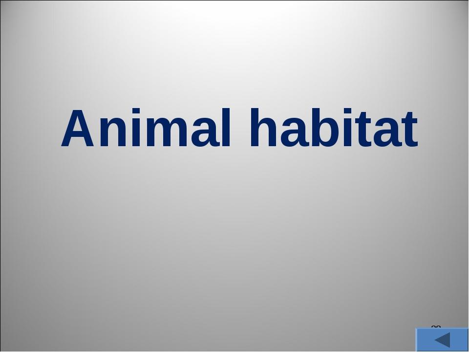 * Animal habitat