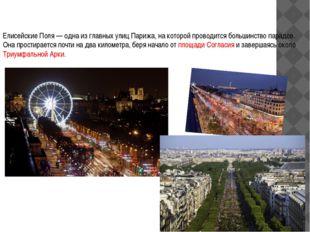 Елисейские поля Елисейские Поля— одна из главных улиц Парижа, на которой про