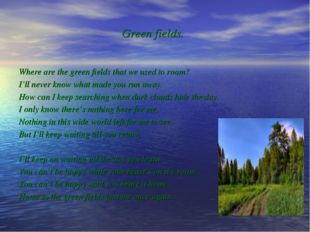Green fields. Where are the green fields that we used to roam? I'll never kno