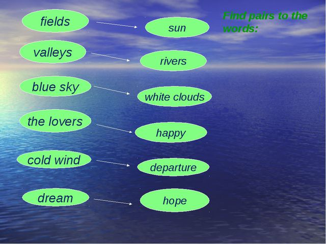 fields sun valleys rivers the lovers happy cold wind departure dream hope blu...