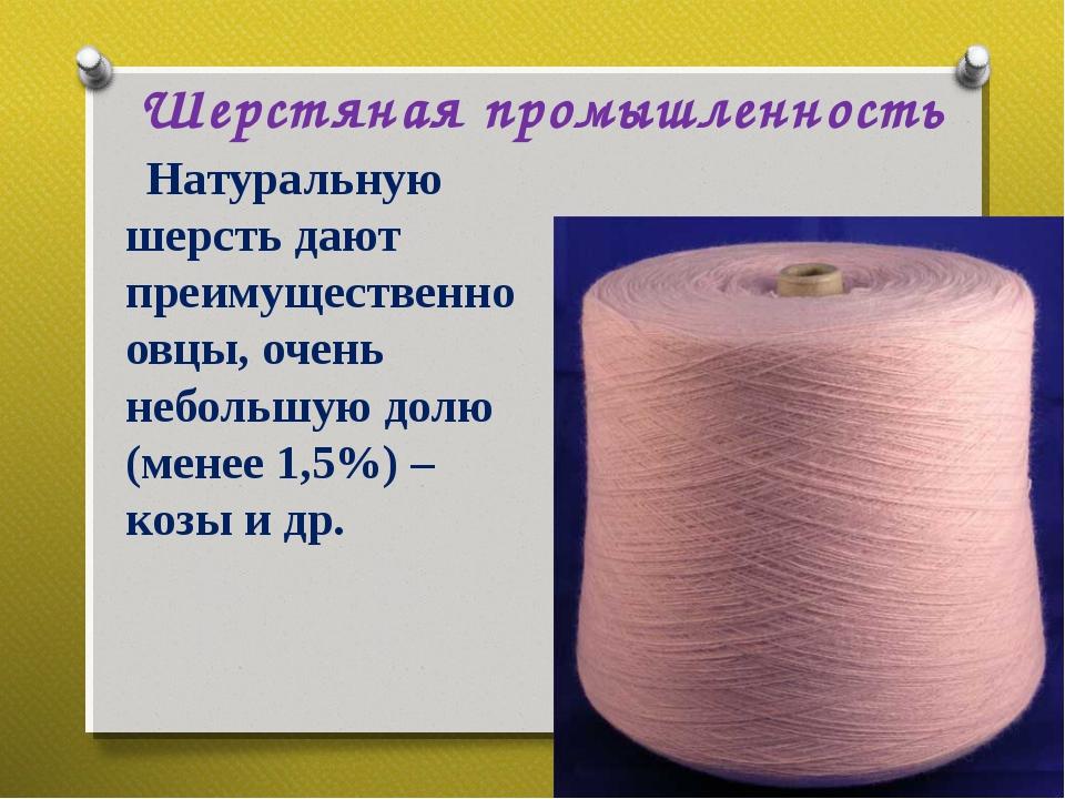 Шерстяная промышленность Натуральную шерсть дают преимущественно овцы, очень...