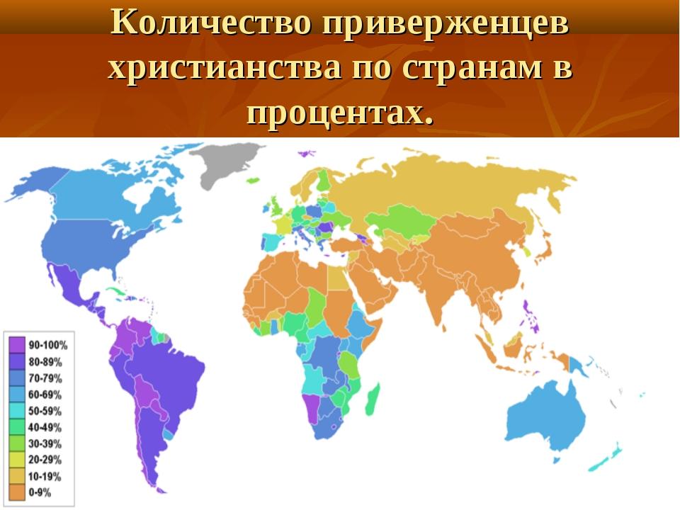 Количество приверженцев христианства по странам в процентах.