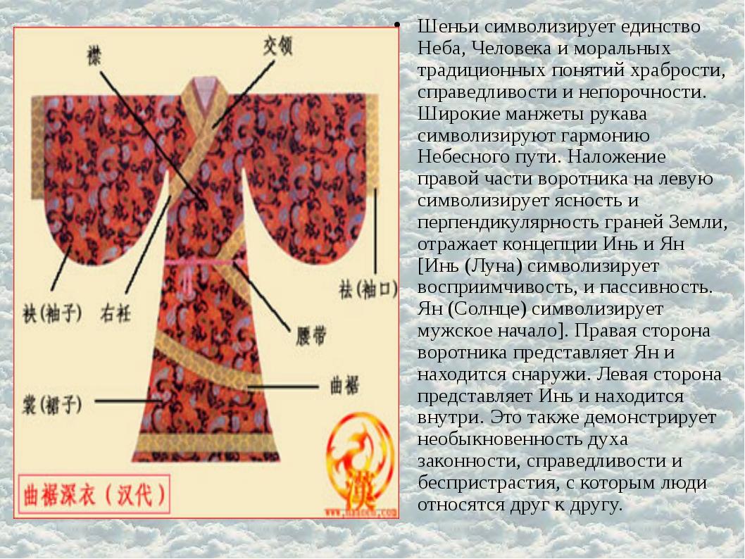 Шеньи символизирует единство Неба, Человека и моральных традиционных понятий...