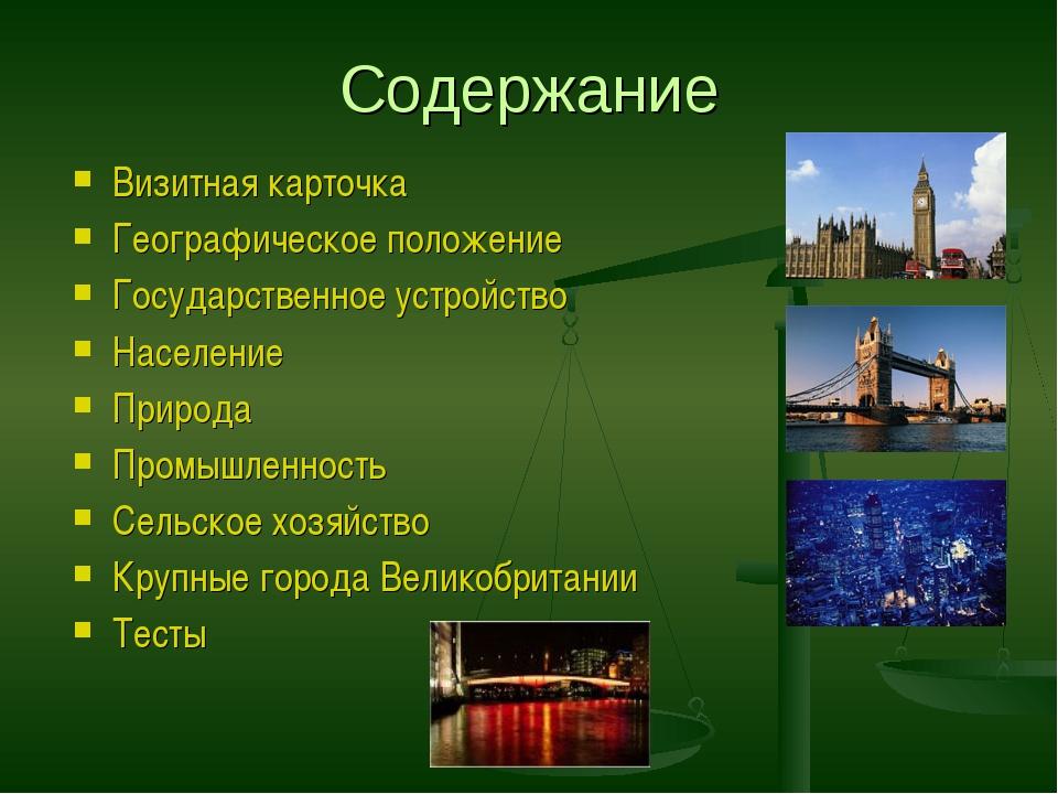 Содержание Визитная карточка Географическое положение Государственное устройс...