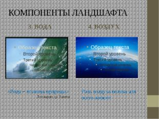 КОМПОНЕНТЫ ЛАНДШАФТА 3. ВОДА 4. ВОЗДУХ «Вода – возница природы.» Леонардо да
