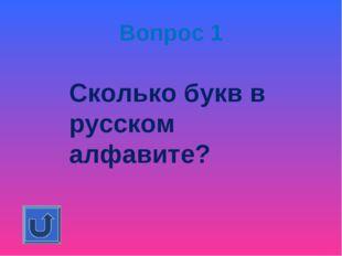 Вопрос 1 Сколько букв в русском алфавите?