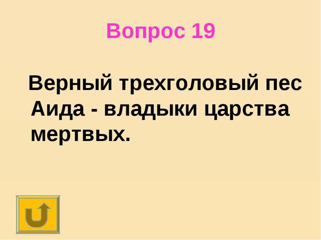 Вопрос 19 Верный трехголовый пес Аида - владыки царства мертвых.