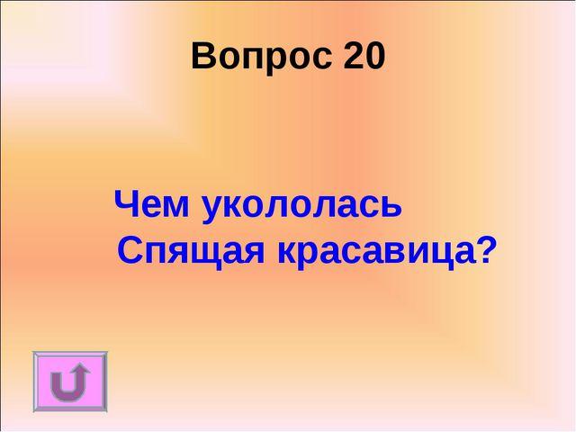 Вопрос 20 Чем укололась Спящая красавица?