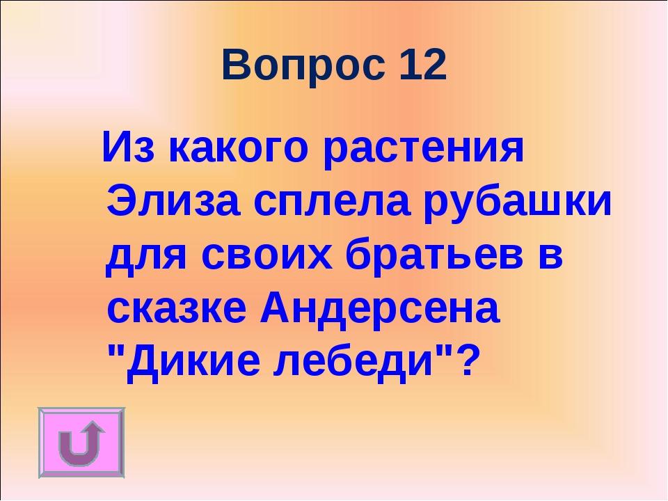 Вопрос 12 Из какого растения Элиза сплела рубашки для своих братьев в сказке...