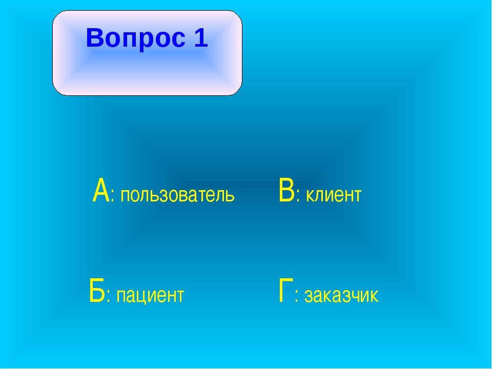 Вопрос 1 А: пользователь В: клиент Б: пациент Г: заказчик