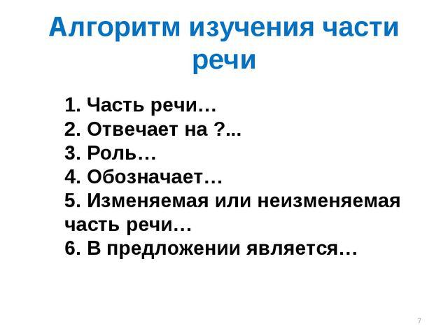 Алгоритм изучения части речи 1. Часть речи… 2. Отвечает на ?... 3. Роль… 4. О...