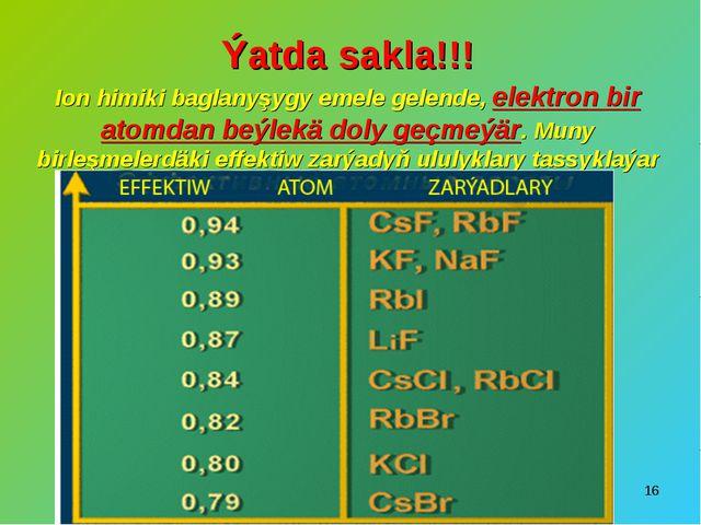 * Ýatda sakla!!! Ion himiki baglanyşygy emele gelende, elektron bir atomdan b...