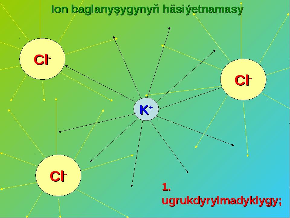 * Ion baglanyşygynyň häsiýetnamasy K+ Cl- Cl- Cl- 1. ugrukdyrylmadyklygy;
