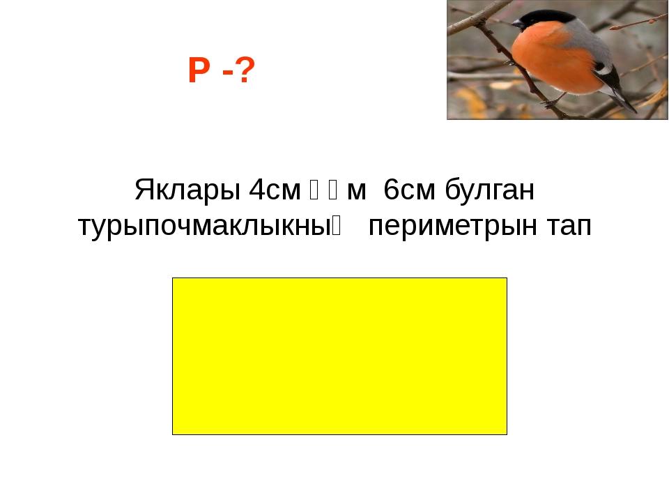 Яклары 4см һәм 6см булган турыпочмаклыкның периметрын тап Р -?