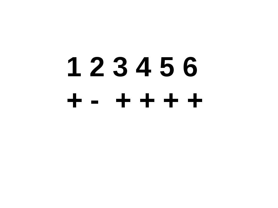 1 2 3 4 5 6 + - + + + +