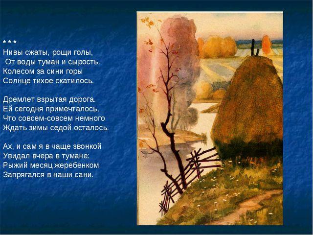 * * * Нивы сжаты, рощи голы, От воды туман и сырость. Колесом за сини горы Со...