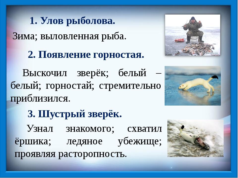 1. Улов рыболова. Зима; выловленная рыба. 2. Появление горностая. Выскочил з...