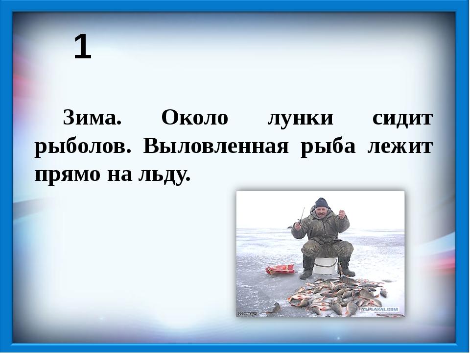 1 Зима. Около лунки сидит рыболов. Выловленная рыба лежит прямо на льду.