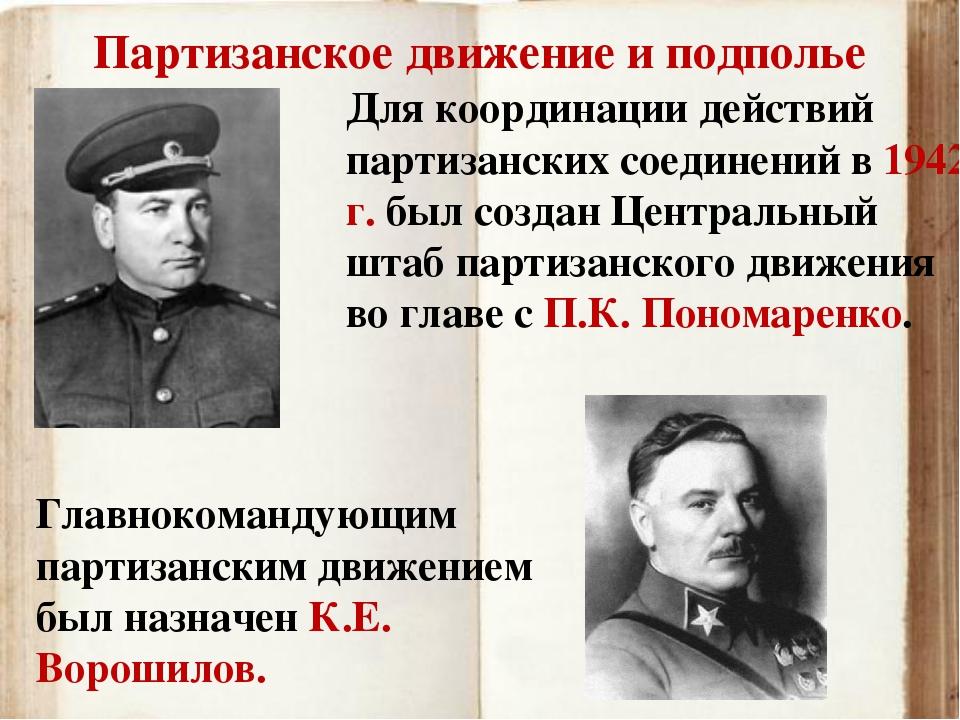 Партизанское движение и подполье Главнокомандующим партизанским движением был...