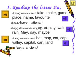 I. Reading the letter Aa. в открытом слоге: take, make, game, place, name, fa