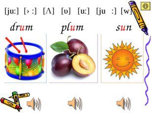 [ju:] [u:] [υ] [Λ] [ə:] [juə :] [w] plum drum sun