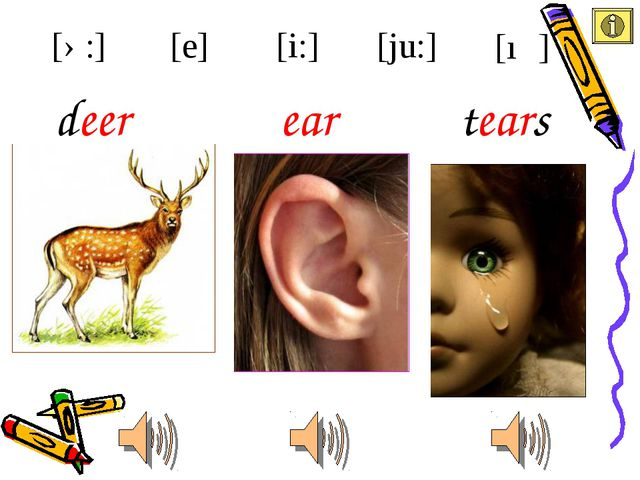 ear deer [i:] [e] [ə:] [ju:] [ıə] tears