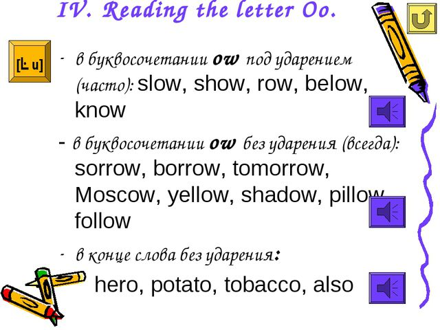 IV. Reading the letter Oo. в буквосочетании ow под ударением (часто): slow, s...
