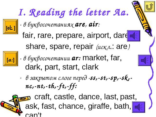 I. Reading the letter Aa. - в буквосочетаниях are, air: fair, rare, prepare,...