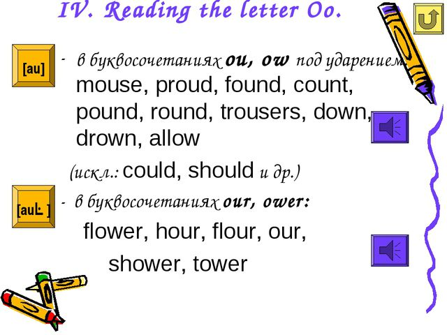 IV. Reading the letter Oo. в буквосочетаниях ou, ow под ударением: mouse, pro...