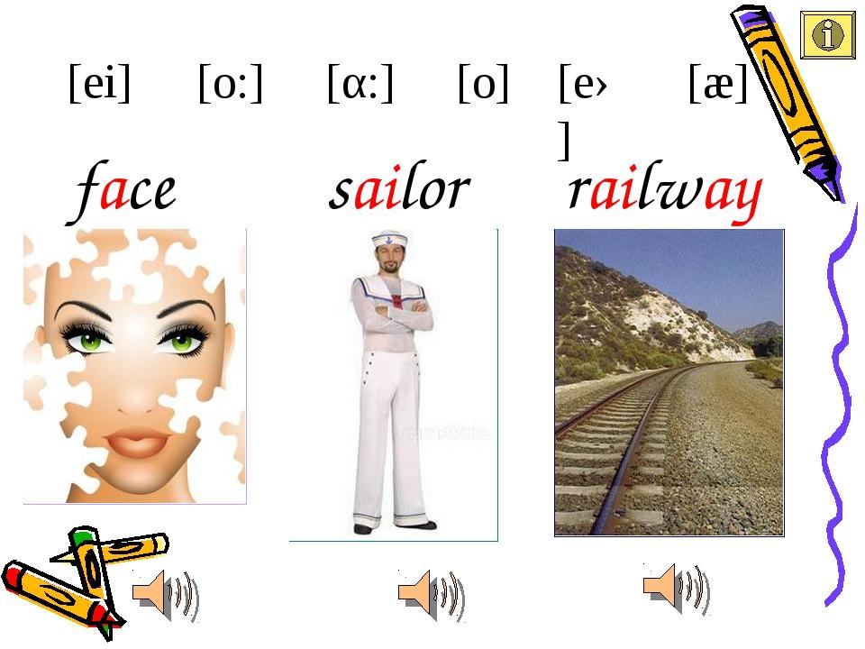 face [ei] [æ] [eə] [α:] [o:] [o] sailor railway