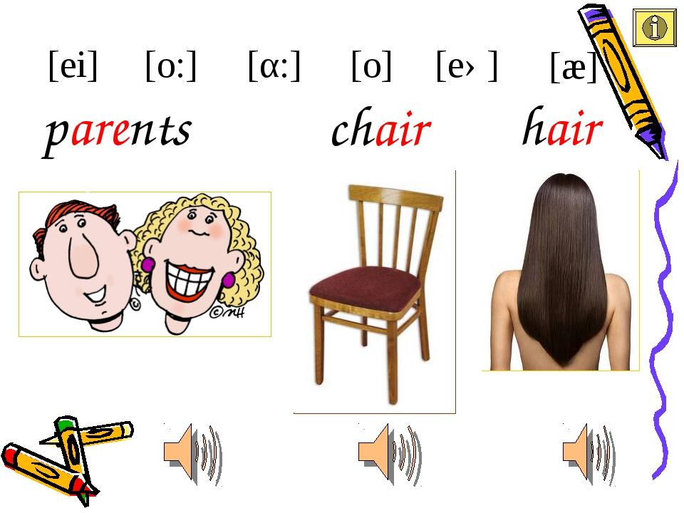 chair parents [ei] [æ] [eə] [α:] [o:] hair [o]