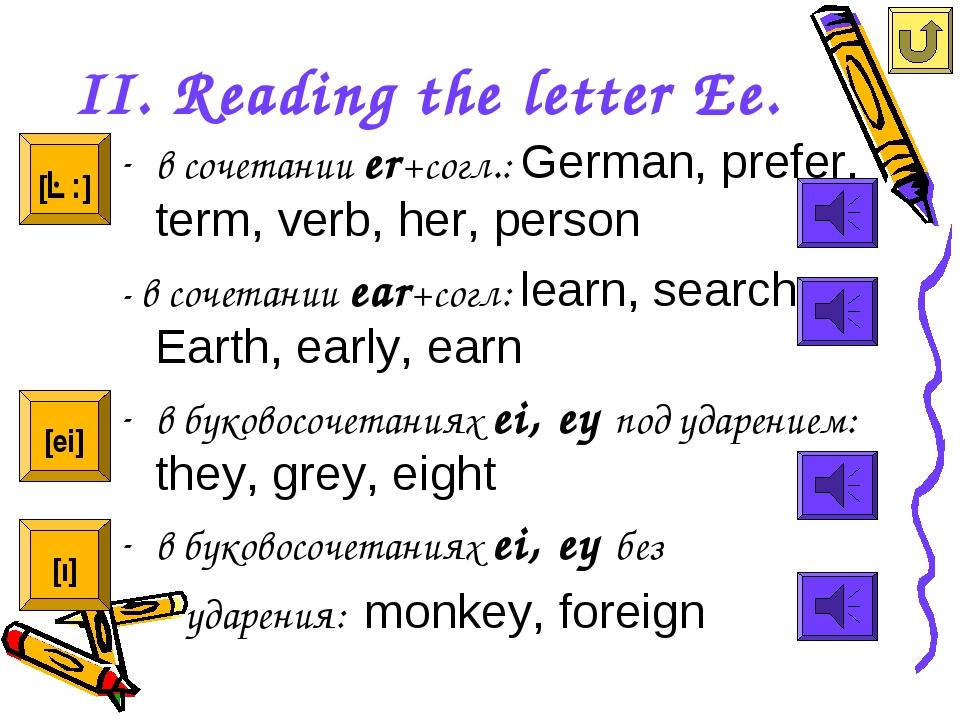 II. Reading the letter Ee. в сочетании er+cогл.: German, prefer, term, verb,...