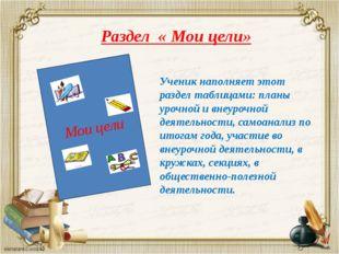 Раздел « Мои цели» Мои цели Ученик наполняет этот раздел таблицами: планы уро