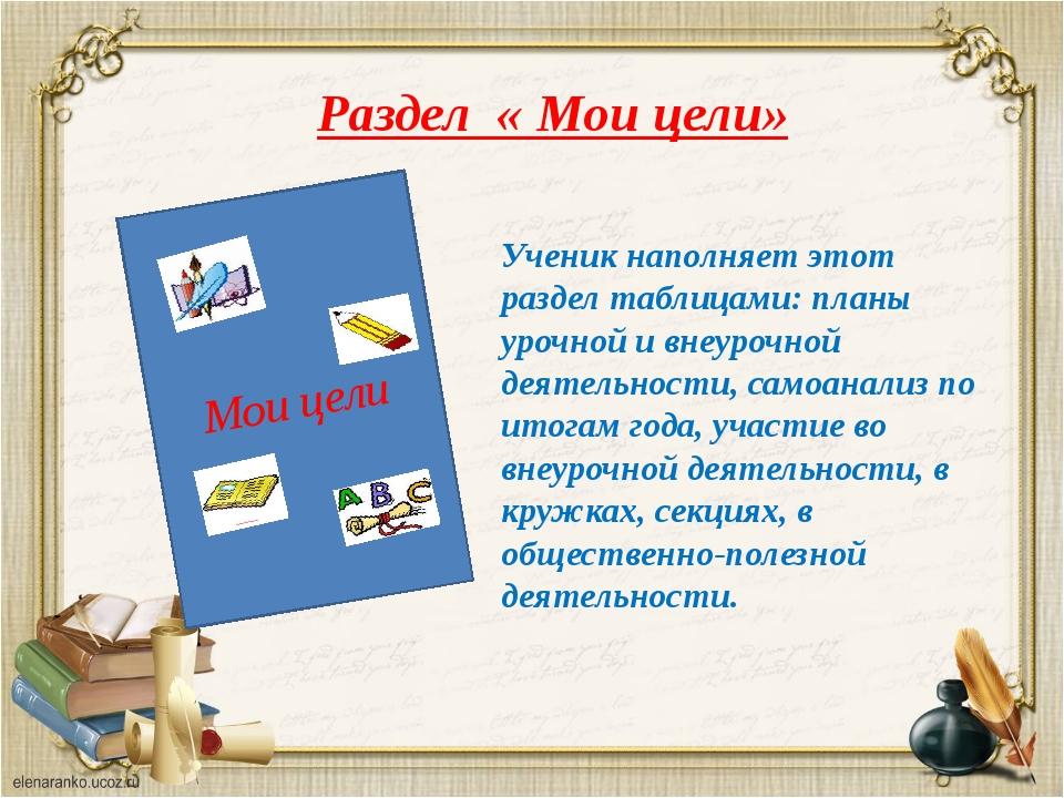 Раздел « Мои цели» Мои цели Ученик наполняет этот раздел таблицами: планы уро...