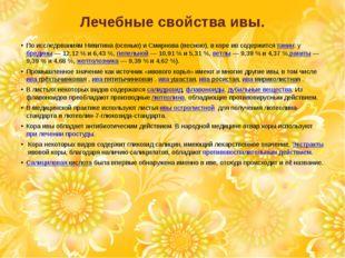 Лечебные свойства ивы. По исследованиям Никитина (осенью) и Смирнова (весною)