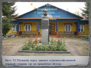 Бюст Т.С.Мальцева перед зданием сельскохозяйственной опытной станции, где он