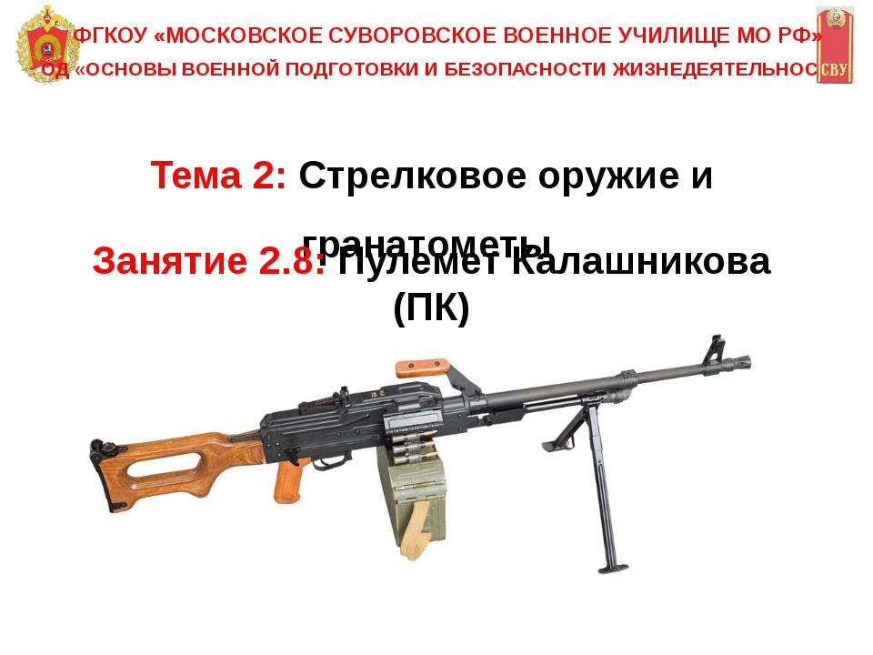 Тема 2: Стрелковое оружие и гранатометы ОД «ОСНОВЫ ВОЕННОЙ ПОДГОТОВКИ И БЕЗОП...