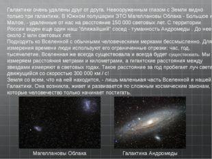 Галактики очень удалены друг от друга.Невооруженным глазом с Земли видно тол