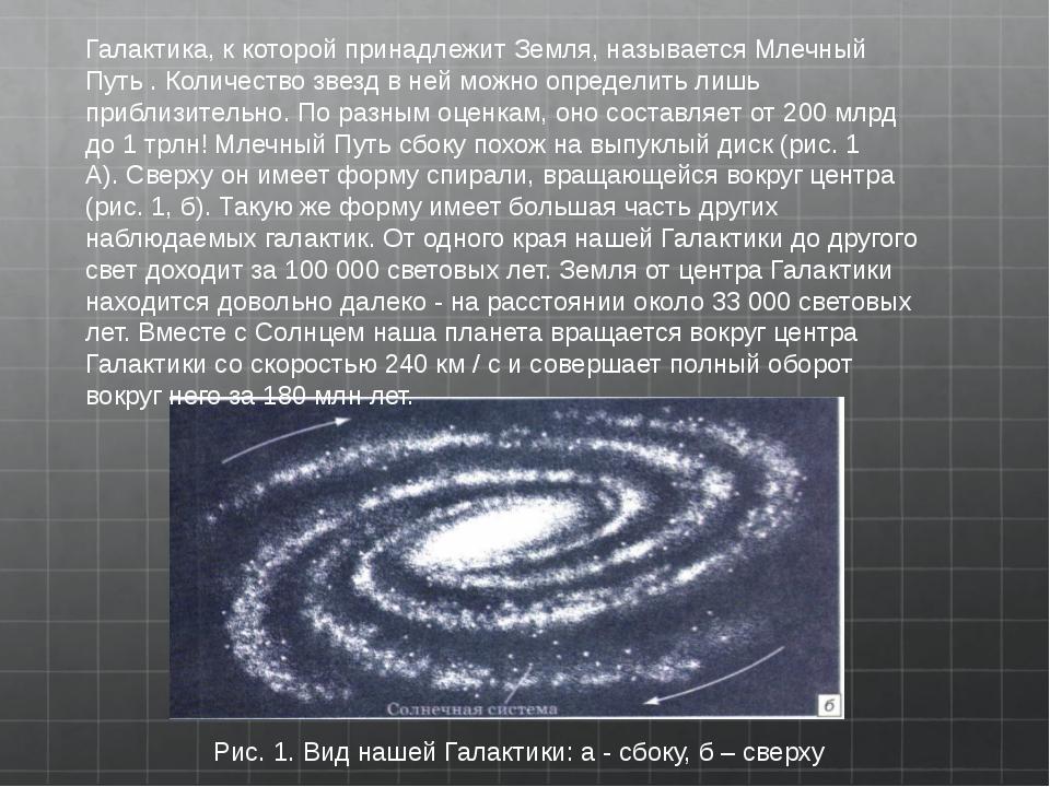 Рис.1.Вид нашей Галактики:а- сбоку,б– сверху Галактика, к которой прина...