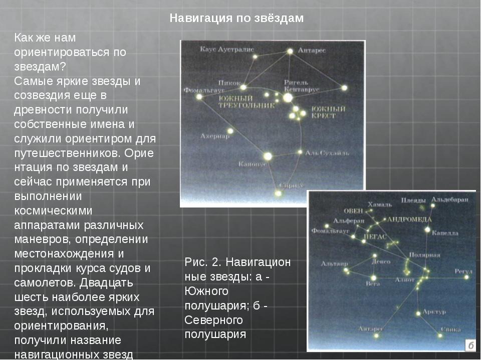 Навигация по звёздам Как же нам ориентироваться по звездам? Самые яркие звезд...