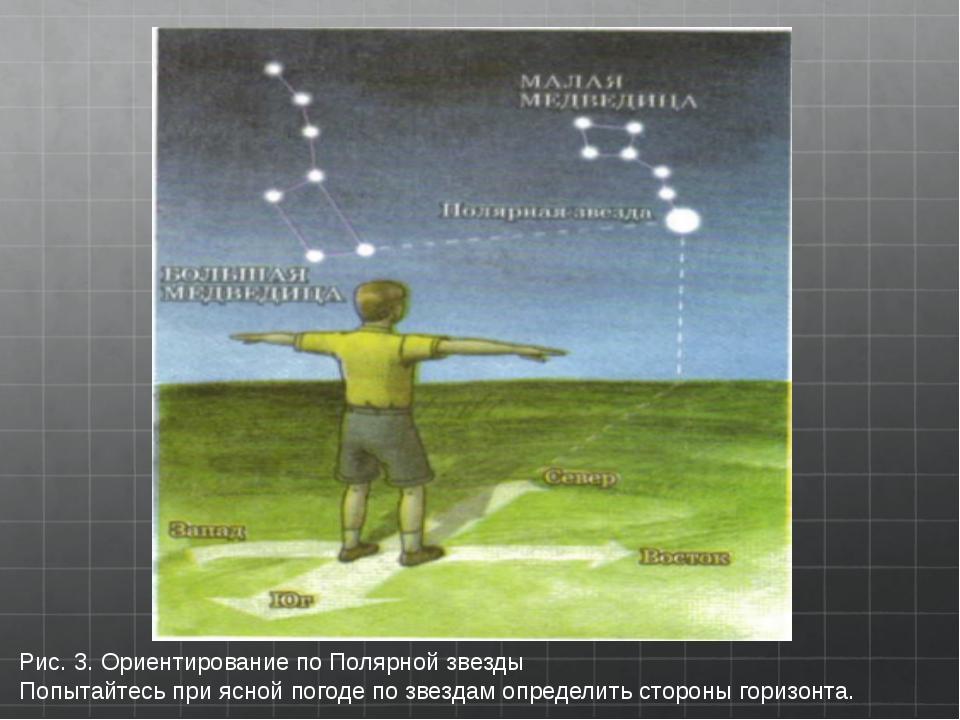 Рис.3.Ориентирование по Полярной звезды Попытайтесь при ясной погоде по зв...