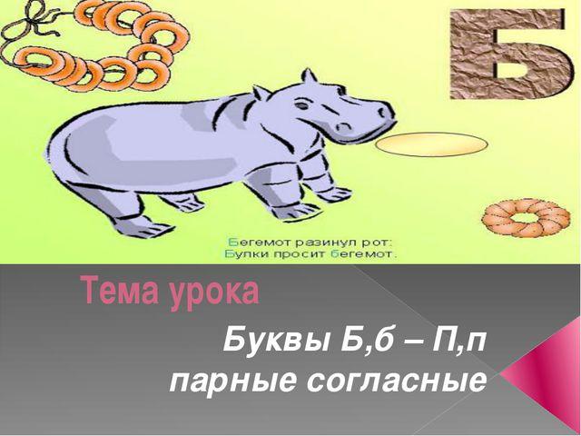 Тема урока Буквы Б,б – П,п парные согласные